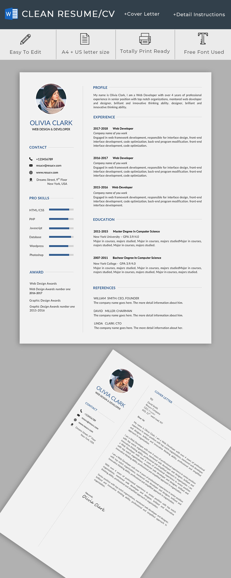 Clean and professional resume/cv template