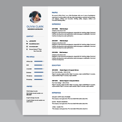 clean and creative resume cv template with cover letter