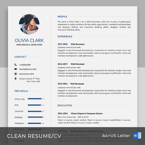simple clean resume cv templates with cover letter