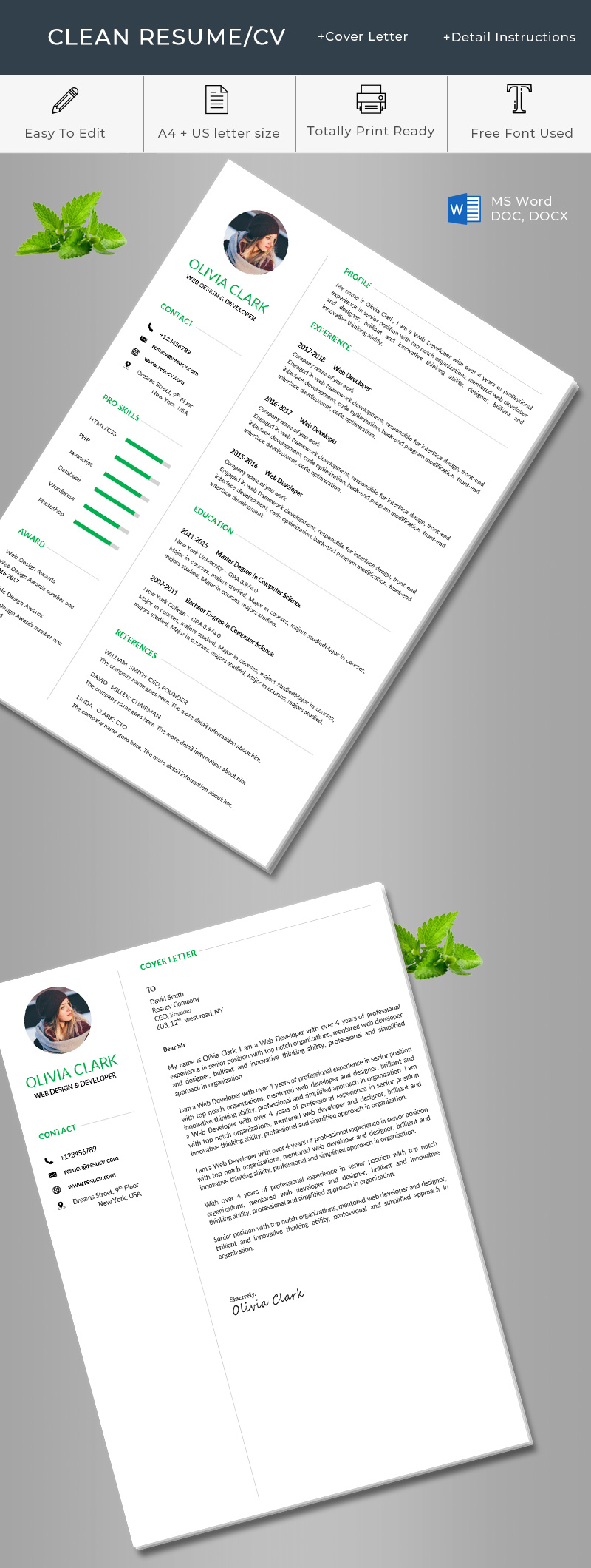 Green clean resume/cv template word format