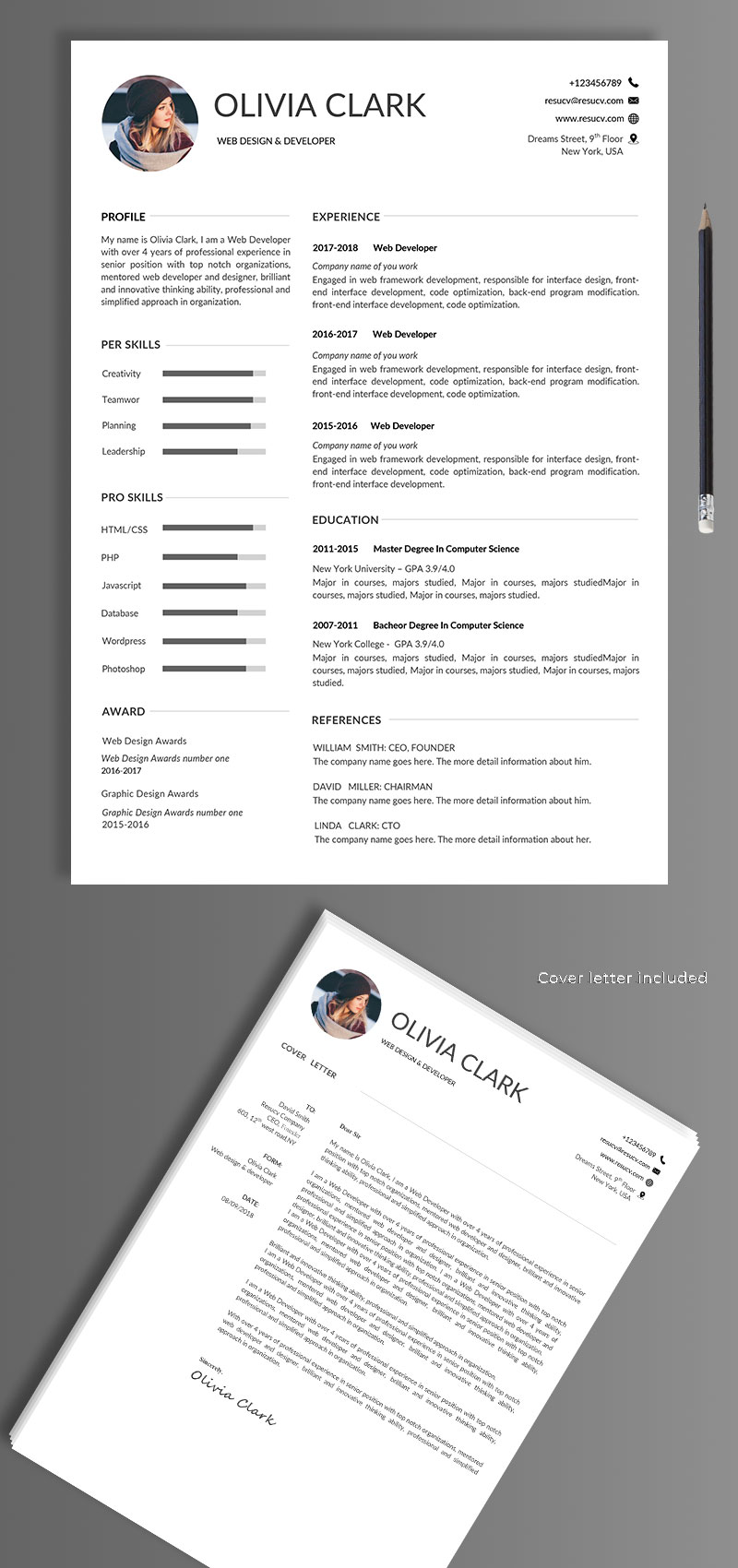 Simple clean resume/cv templates with cover letter