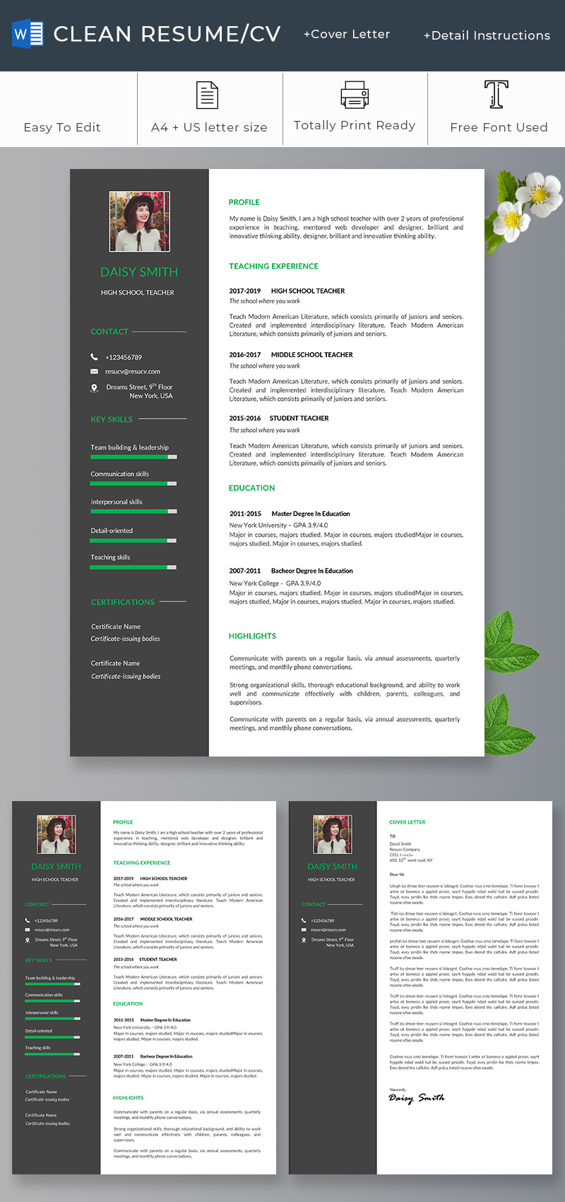 Clean school teacher resume/cv template