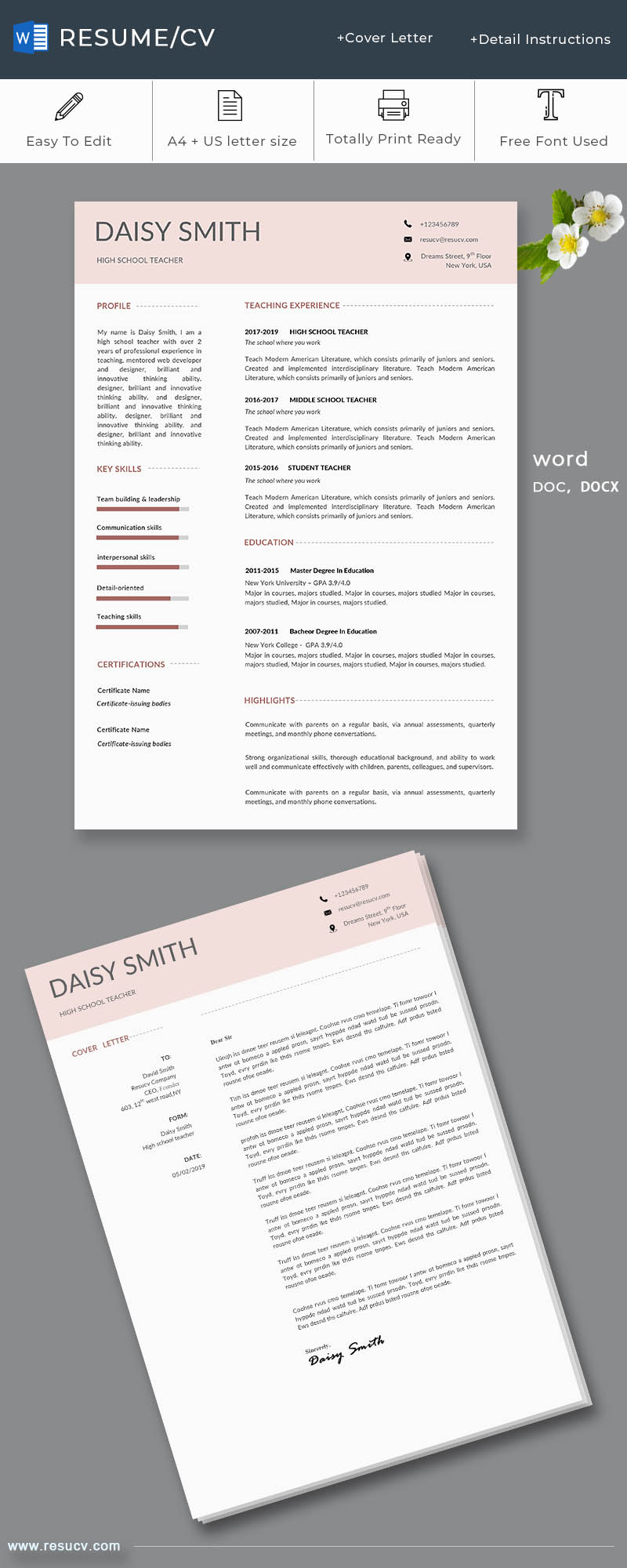 pink style school teacher resume/cv template with a cover letter