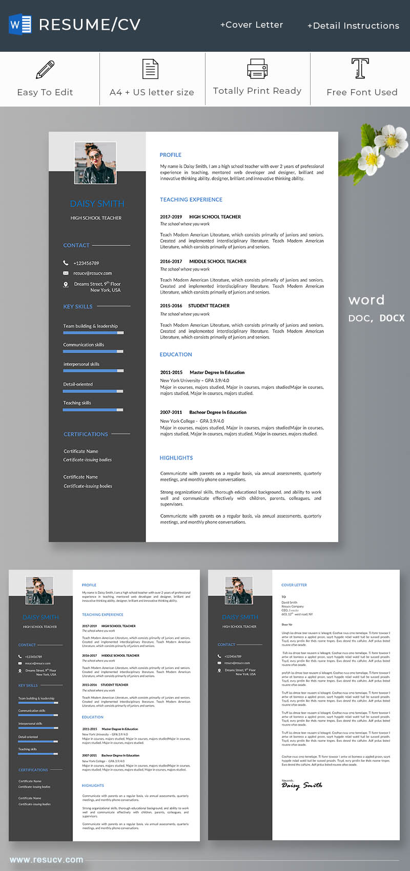 Simple school teacher resume/cv template word format