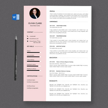 Clean registered nurse resume/cv template with a cover letter