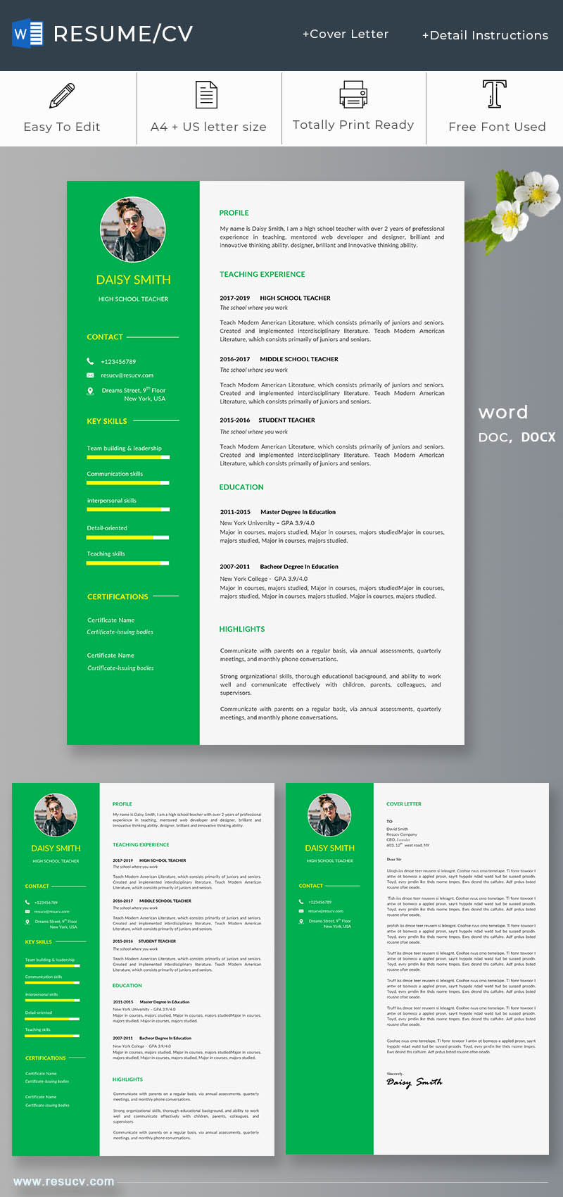 Green school teacher resume/cv template with cover letter