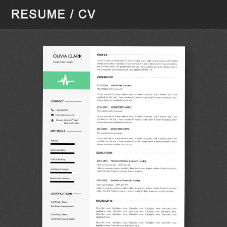 Professional registered nurse resume/cv template with a cover letter