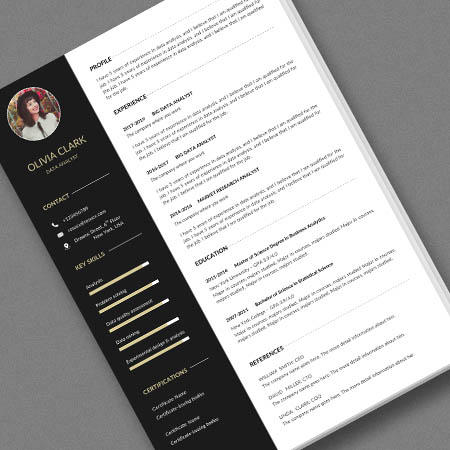 Clean data analyst resume/cv template with a cover letter