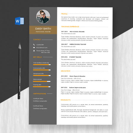 Professional school teacher resume/cv template word format