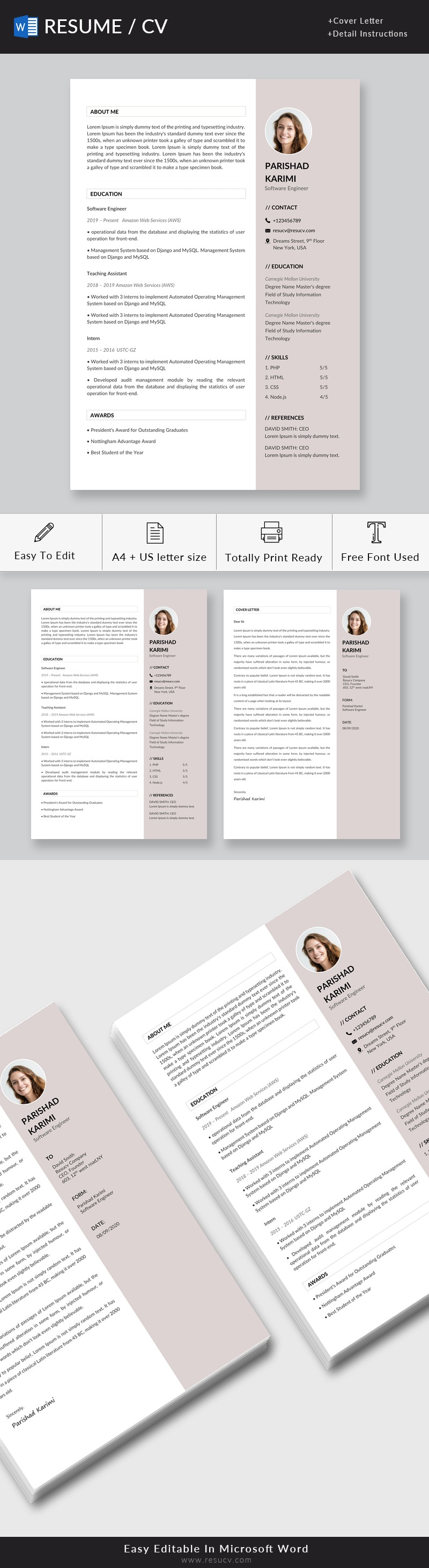Clean software engineer resume template with cover letter
