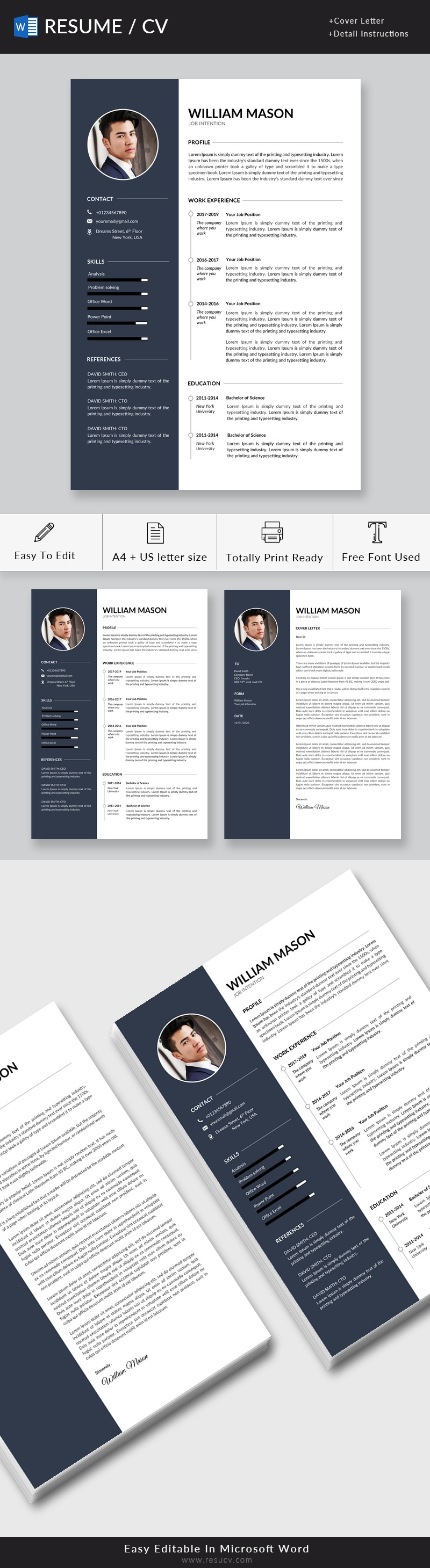 Professional Resume Template for Word, 2 Page Resume Template