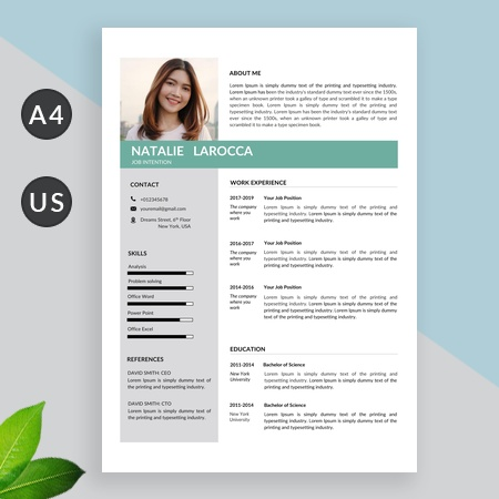 Green Resume Template, Cv Template Professional and Minimalist Resume Template