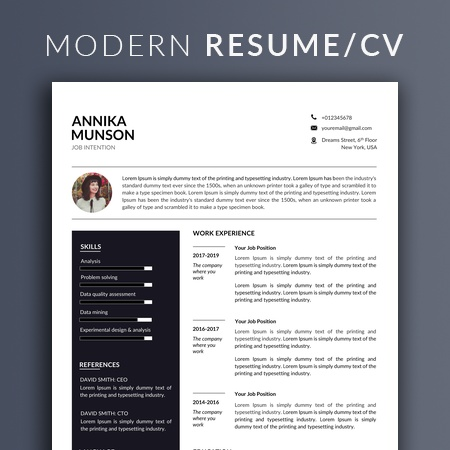 Two Page Resume Template Instant Download, with Cover Letter